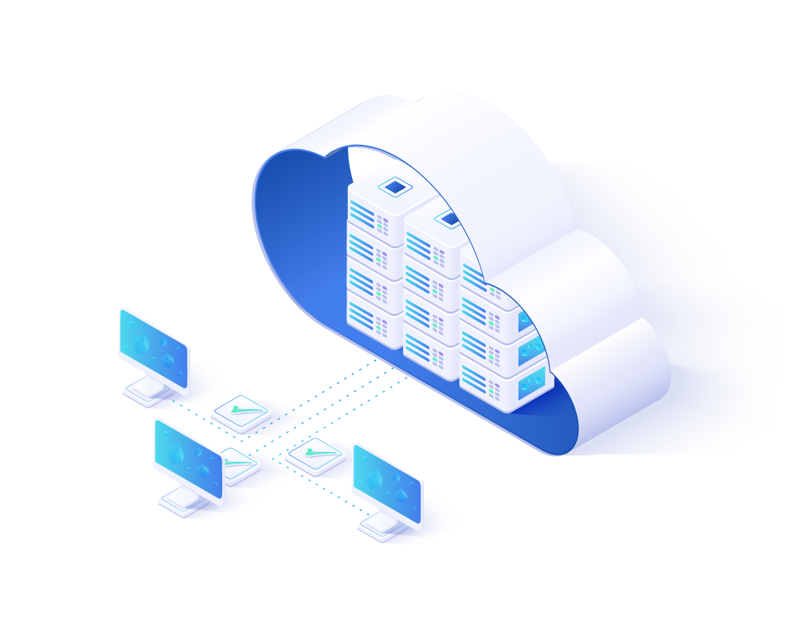 illustration of cloud hosting with databases in a cloud connected to three computers